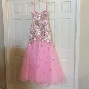 Light pink and silver sequin pageant prom gown